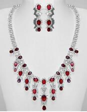 PRETTY WOMAN RUBY & CZ BRIDAL-  DOUBLE STRAND NECKLACE & EARRING SET-18""