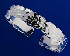 "12mm Plumeria Flower Hawaiian 925 Sterling Silver 7"" Bracelet Cuff Bangle #B5004"