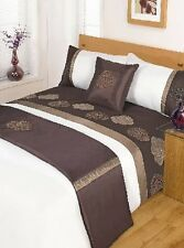 5pc JASMINE CHOCOLATE DESIGN DUVET QUILT COVER SET + CUSHION COVER + BED RUNNER