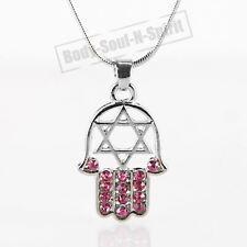 """HAMSA ROJO """"Estrella de David"""" Cristales Collar tono PLATA Amuleto colgante"""