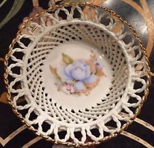 Vintage Porcelain Lace Basket Bowl With Pained Flowers ,Porfin Cluj Napoca
