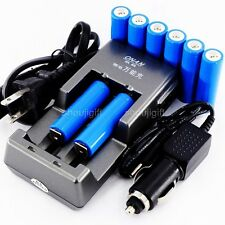 WALL/CAR PLUG CHARGER +8x 3.2V LiFePO4 Lithium AA 14500 RECHARGEABLE BATTERY