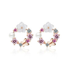 Ladies Sweet Elegant 925 Sterling Silver Zircon Butterfly Flower Stud Earrings