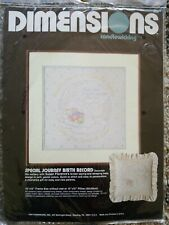 Dimensions Special Journey Birth Record Candlewicking Kit Sampler Sleeping Baby
