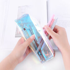 Clear Rainbow Color Zip Pencil Case Stationery Pouch Cosmetic Bag with Zipper