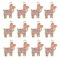 12pcs Enamel Alloy 27x19mm Colorful Horse Pendant Charms Jewelry DIY Accessories