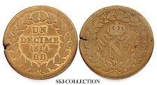 Un Décime 1814 BB (Strasbourg) Point après 1814. Napoléon I°. Bronze. RARE