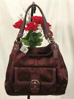 NWT COACH Campbell Metallic Bordeaux Signature Leather Hobo Bag $378 #F26245