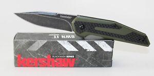 Kershaw Fraxion Knife Black Carbon Fiber Olive G-10 Handle Plain Black 1160OLBW