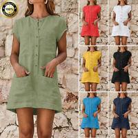 Womens Cotton Linen Short Sleeve Blouse Ladies Summer V-Neck Casual Mini Dress