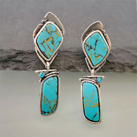 Vintage 925 Silver Turquoise Earrings Ear Hook Dangle Woman Wedding Jewelry Gift