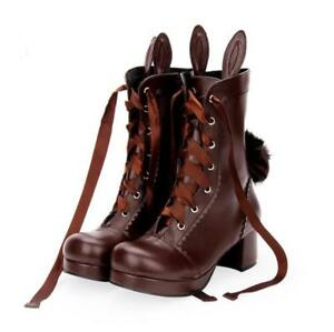 Women Fur Lining Bowknot Lolita Mary Jane Shoes Winter Girl Sweet Ankle Boots