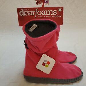 Dearfoams Slippers Bootie Pink Women's Medium 7-8 NEW NWT Indoor Outdoor Comfort