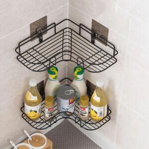 Corner Shower Rack Shelf Bathroom Storage Organiser Basket Tidy Shelf Black