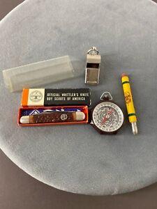 Vintage BOY SCOUTS Misc. Lot Knife Whistle Cornhusker Bullet Pencil Compass USA