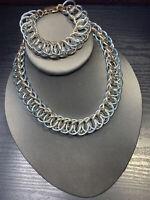 Vintage 1950's Silver/blue Gold Chain Mail Necklace Bracelet Set Signed Germany
