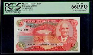 MALAWI  5 KWACHA 1988 RADAR 121121 PICK # 20b PCGS 66  GEM NEW PPQ.