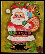 Vintage Christmas Santa Claus Doll Toys Hat Boots Christmas Greeting Card Unused