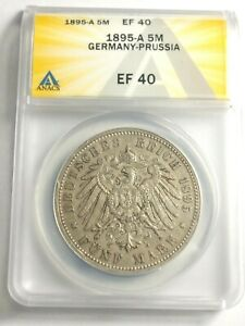 Nice circulated 1895-A Germany-Prussia Silver 5 Mark Graded by ANACS as EF-40!