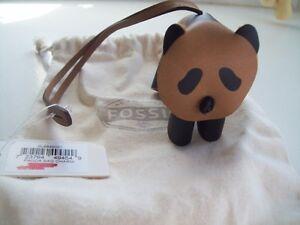 NWT Fossil BlackTan Brown Panda Bear Leather Bag Charm with Fossil Storage Bag