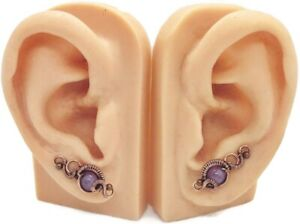 Pair of Amethyst and Copper Wire-Wrapped Ear Pins