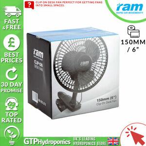 RAM 6 Inch 150mm Clip On Office Desk 2 Speed Fan Grow Room Tent Hydroponics