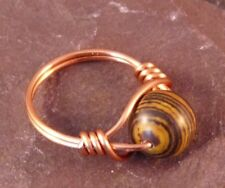 Handmade Brown Stripped Howlite Wire Wrapped Ring - UK Size M
