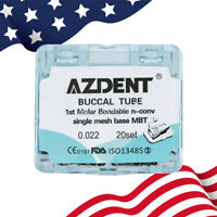 USA AZDENT Dental Orthodonic Bondable 1st Molar Buccal Tube Mesh Base MBT 0.022