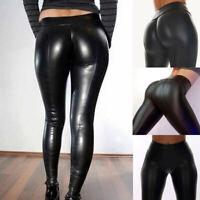 Femme Métallique PU Cuir Leggings Slim Fitness Taille Hauts Crayon Pantlalons