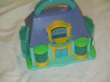 Tiny Dreams Blue Box Polly Pocket Carry Along Handle Mini Doll House Bed Table