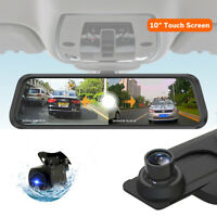 "10"" FHD 1080P Dash Cam Car DVR Video Recorder Rear View Monitor Mirror Camera"