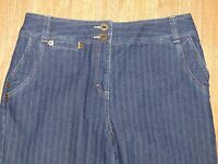 Bamboo Traders Blue Navy Jeans with White Pin Stripe Size 8