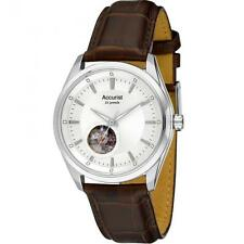Accurist MS907S Gents Automatic Silver Sunray Dial Leather Strap Watch RRP £189