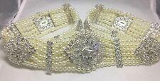 Luxus Straß Perlen Schmuckgürtel Braut 18K GP Henna Kaftan Abaya Takschita Hijab
