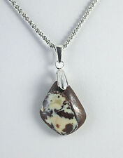 "Koroit Australian Opal Embedded in Brown Ironstone Necklace 18"" Chain Sterling"