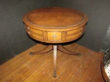 Vintage Single Drawer Duncan Phyfe Leather Top Drum Table w/ Brass Paws 103MP