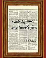 J.R.R. Tolkien Travel Hobbit Dictionary Wall Art Print Book Inspirational Page