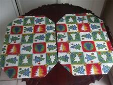 "Reversible Fabric Placemats Stars Christmas Trees green red Pair 19"" x 13"" New"