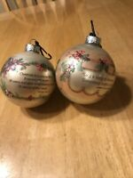 Three Vintage 1977 Hallmark Malloy Glass Ball Christmas Expressions Ornament