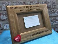 """Solid Wood Personalised photo frame 6x4"""" / 7x5"""" Nan Grandad Grandparents Gran"""