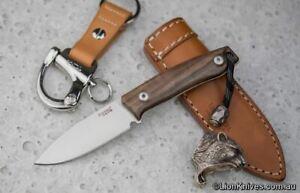 LionSteel M1 Fixed Blade Knife Walnut Handle M390 Steel Titanium Lanyard Bead