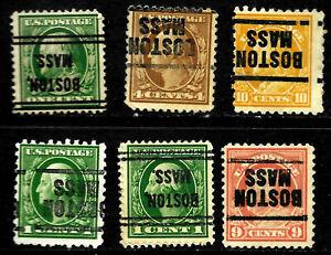 """Inverted Boston MASS"" Washington Franklin Precancel Collection 1-10 Cent US 90"