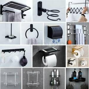 Wall Mounted Towel Rack Bathroom Hotel Rail Holder Storage Shelf Space Aluminum