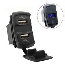 12V Dual USB Auto Boot Sockel Wippschalter Panel mit Spannungs Voltmeter Blau