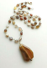 Agate bead big pendant necklace .. brown beige gemstone glam statement jewelry