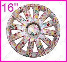 "16"" copricerchi per PEUGEOT PARTNER EXPERT 407 4x16"" uniqe Fiori Motivo Rosa"