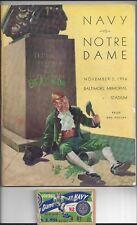 1956 Notre Dame vs Navy FOOTBALL PROGRAM & Game TICKET STUB @ Baltimore 1956
