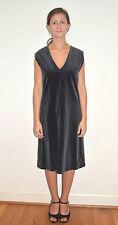 Vintage 60's Deep V School Girl Slate Gray Black Velvet Dress Jumper - Size M