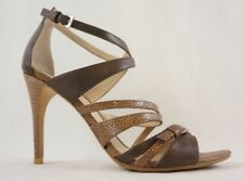 f012b6b2bb39 DKNY Womens Sandals Size 9.5 Leather Strappy Stiletto Heel Brown EUC