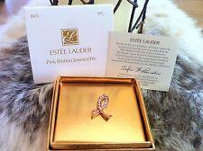 SWAROVSKI ESTEE LAUDER PINK RIBBON JEWELED PIN #1WTL BREAST CANCER AWARENESS